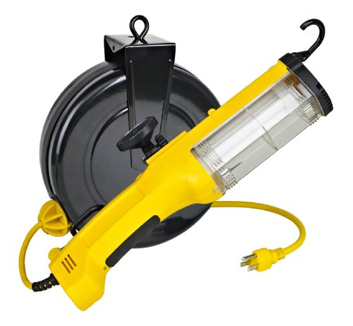 26watt Fluorescent Retractable Work Light w/ Outlet, Magnet and Overload Protection by Pro-Lite