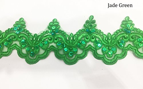 Jade Vintage Green (Beaded Lace Trim Sequinned Ribbon Vintage Decorative Wedding/Bridal DIY Craft Sewing Coloured Fabric (Jade Green, 5 Yards))