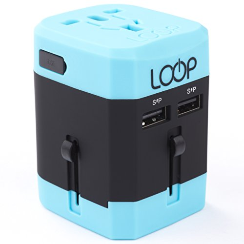 LOOP World Adapter Plug, Worldwide Travel Adapter Charger [US UK EU AU CN] w/ Dual USB Charging Ports & Universal AC Socket - Safety Fused (Blue)