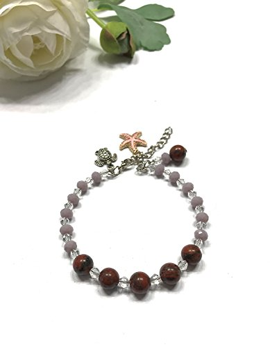 Crystal Memory Wire Bracelet - Natural Red Jasper and Crystal Memory Wire Bracelet with Turtle, Sea Star, and Beaded Charms. Meditation. Protection and Cleansing Stone. Base Chakra Balance.