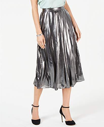 Michael Michael Kors Foil-Coated Pleated Skirt Black/Silver Size 0