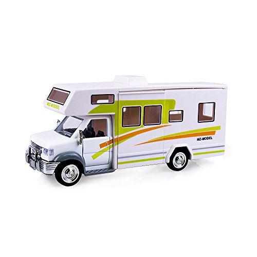 HSOMiD Toys Holiday Camper Van, Cool Mini Motorhome Toy / Pullback Vehicle Playset for Kids (Camper Van / Green)