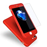 iPhone 7 Case, Coocolor [Perfect Fit] 360 Degree All-around Ultra Thin Full Body Coverage Protection Dual Layer Hard Slim Case + Tempered Glass Screen Protector For iPhone 7-Red