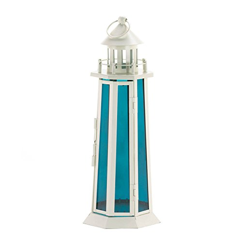 Nautical Ocean Blue Glass Panel Candle Holder Lantern Lamp