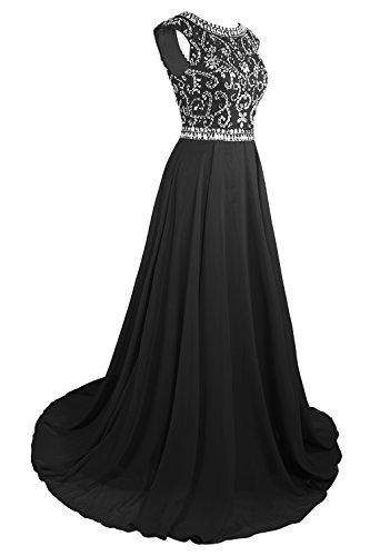MsJune Long Prom Dresses Cap Sleeves Bridesmaid Wedding Guest Gowns Beaded 2017