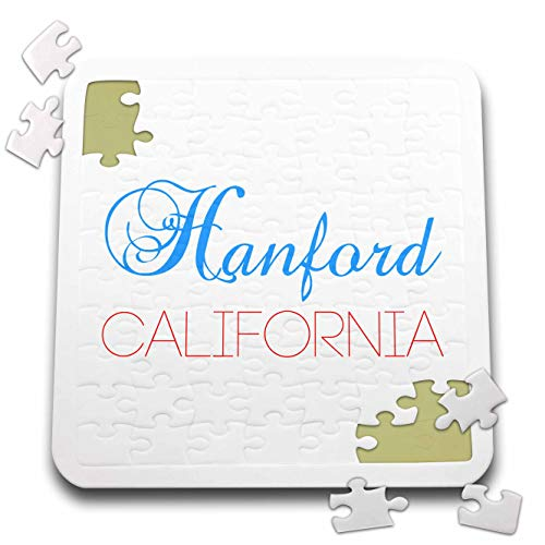 3dRose Alexis Design - American Cities California - Hanford, California, red, Blue Text. Patriotic Home Town Design - 10x10 Inch Puzzle (pzl_302746_2)