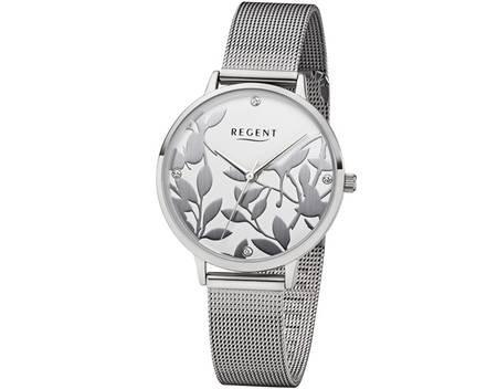Regent 12221060 Reloj mujer RELOJ DE METAL pulsera plata floral Diseño ba436