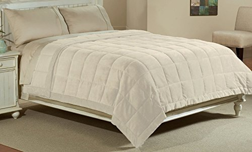 Luxlen Microfiber Blanket in Turtle Dove Reversible Soft Plush to Satin Cool, Full/Queen,