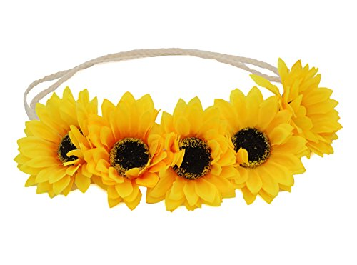 Hippie 2 Piece Headband (Floral Fall Sunflower Crown Hair wreath Bridal Headpiece Festivals Hair Band (2#-Yellow)