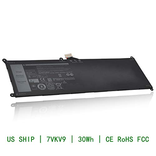 CQCQ 7VKV9 Compatible Battery Replacement for DELL Latitude XPS 12 7000  7275 9250 9TV5X [7 6V 30Wh]
