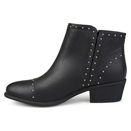 Brinley Co Kvinners Ginny Faux Skinn Stablet Hæl Studded Ankle Boots Black
