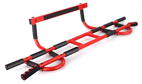 ProFit Doorway Pull Up Chin Up Door Gym Upper Body Workout Trainer Bar maximum stability-weight load of 600lbs- 16 grip position- easy and quick(4 screws) to setup anywhere home workout (Red Frame)