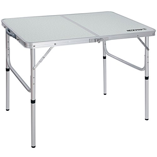 REDCAMP Aluminum Folding Table 3 Foot, Adjustable Height Portable Camping Table, Sturdy Lightweight 36' Camp Table