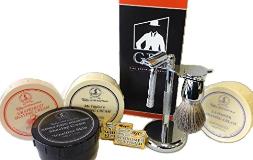 Shaving Gift Set with Merkur Safety Razor, 10 Pack of Blades, GBS Badger Brush, Tobs Shaving Cream Bowl, Stand and Safety Razor
