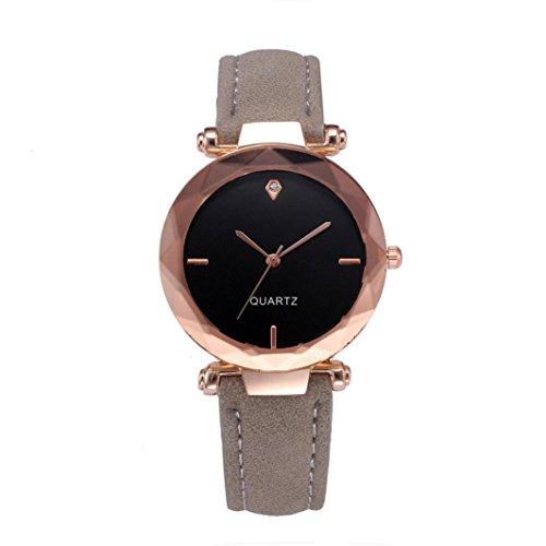Snowfoller Fashion Small Round Dial Wrist Watch, Elegant Ladies Analog Quartz Watch Suede Leather Casual Watch (Gray)