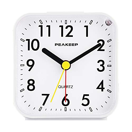 Peakeep Small Battery Operated Analog Travel Alarm Clock Silent No...