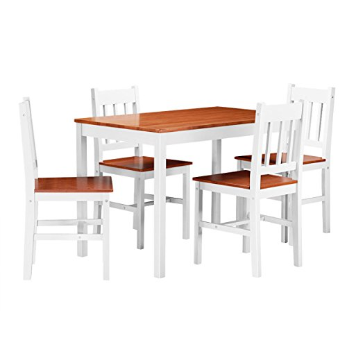 Giantex 5 Piece Wood Dining Table Set 4 Chairs Home Kitchen Breakfast Furniture (White&Walnut) - Five Piece Wood