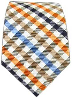 The Tie Bar 100% Woven Silk Cream Ivy Checked 2 1/2 Inch Skinny Tie