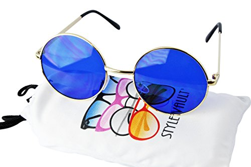 "V105-VP Style Vault 2"" Lens Round Metal Sunglasses (005 Gold-blue, uv400)"