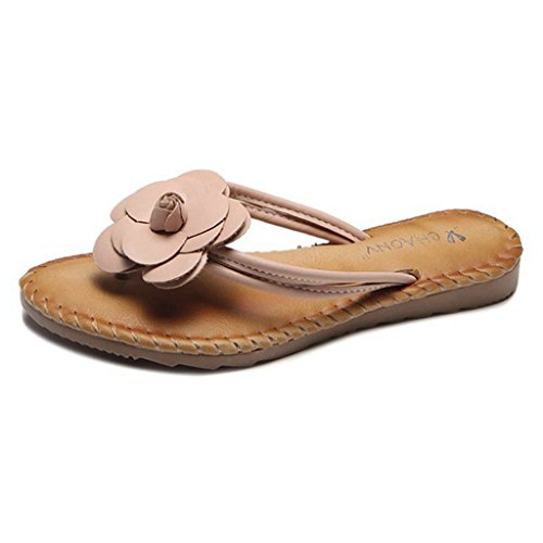 GIY Womens Flower Flip Flops Thong Sandal Summer Beach Slip on Rubber Flat Slides Slippers