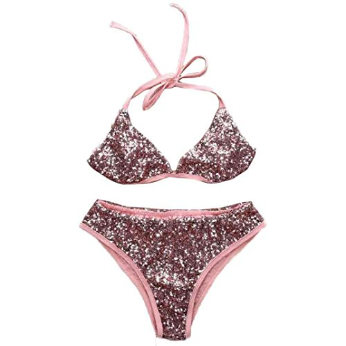 LHWY Vestido Traje De Baño Vendaje Bañador Bling Lentejuelas Bikini Color de Rosa