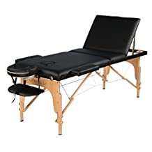 BLACK Wooden 3 section portable massage/reiki/Tattoo/Facial Bed table, free carrying case