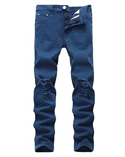 Stretch Slim Elasticizzati Saphirblau Skinny In Casual Jeans Destroy The Da Pants Battercake Aderenti Vintage Holes Denim Pantaloni Strappati Uomo Cher Knee Comodo zfw6xq4
