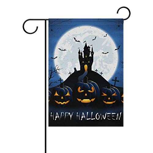 Nick Thoreaufhed Halloween Pumpkins Old Castle Double-Sided Polyester Garden Home Flag Banner for Party Home Outdoor Decor 12x18 -