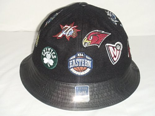 New! Black NBA Eastern Conference Embroidered Team Logo Bucket Hat with Leather Brim! (S/M)