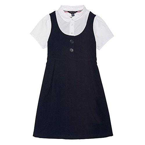 (French Toast Girls' Little Peter Pan 2-fer Dress, Navy,)
