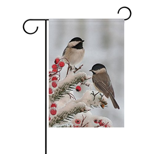 Double Sided White Black Tow Cute Chickadees in Winter Snow