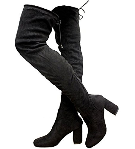 HIGH Lace Womens Knee Ladies Shoes The Stretch 8 3 Suede Thigh Boots up Size Over Black rdqEXYXwx