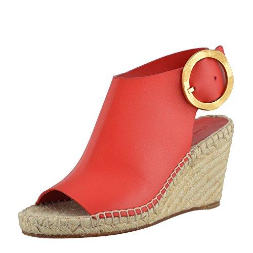 Celine Kvinna Läder Röda Plattform Öppen Tå Kilar Sandal Skor Us 6 It 36