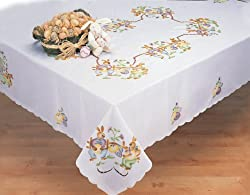 Easter Bunny Egg White 68x104 Rectangular Spring Fabric Tablecloth Creative Linens