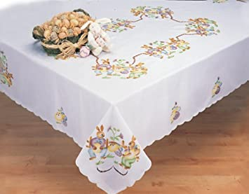 Easter Bunny Egg White 68x104u0026quot; Rectangular Spring Fabric Tablecloth  Creative Linens