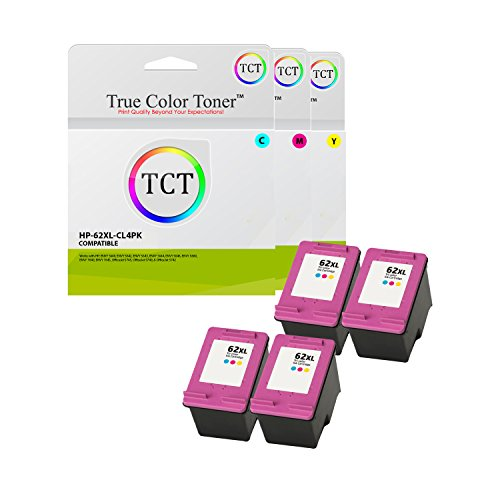True Color Toner 62XL Multicolor 4 Pack High Yield Compatible Ink Cartridge C2P07AN 62 XL Replacement for HP Envy 5640 5642 5643 5644 5646 5660 7640 7645 OfficeJet 5745 5740 5742 Printers (415 Pages)