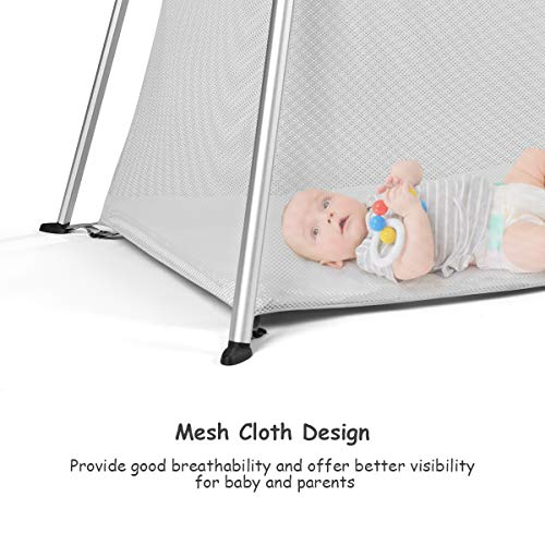 BABY JOY Baby Playpen Ultra-Light Aluminum Portable Travel Crib with Comfy Mattress /& Oxford Carry Bag Dark Gray