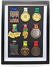 Large Medal Display Shadow Box - 9 Medal Display Case - Perfect Medal Display for War Military, Runners, Marathon, RECE Winner, Football, Gymnastics & All Sports (Black, 17.7x13 inches)