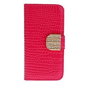 Crocodile Stripe Pattern Full Body Case with Golden Diamond Button and Card Slot for iPhone 5/5S (Assorted Colors) --- COLOR:Rose