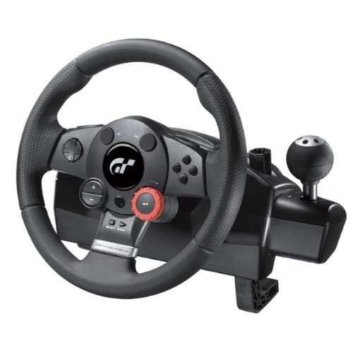 Logitech Driving Force GT Steering Wheel with Force Feedback, 900-Degree Wheel Rotation and 24-Position Adjustment Dial, with Accelerator and Brake Pedals and Sequential Stick Shift, Compatible with PC/PS2/PS3