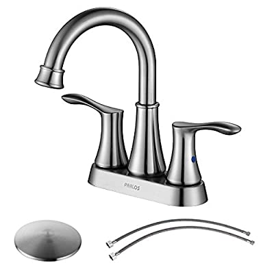 PARLOS Double Handles Lavatory Faucet with Drain Assembly and Supply Hose Lead-free cUPC Bathroom Faucet Mixer Two-Handle Lavatory Vanity Utility Laundry Faucet
