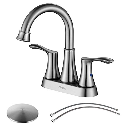 PARLOS Swivel Spout 2-handle Lavatory Faucet Brushed Nickel Bathroom Sink Faucet with Pop-up Drain and Faucet Supply Lines, Demeter (Brushed Nickel Faucet)