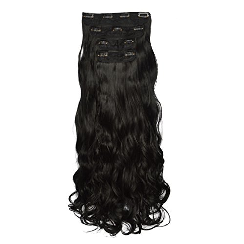 "REECHO 24"" Curly Wavy 4 Pieces Set Clip in Hair Extensions Natural Black"
