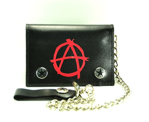 Wallet Anarchy (Anarchy Print Leather Tri-fold Bikers Wallet with 16