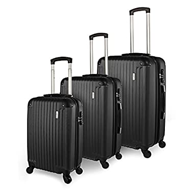 TravelCross Luggage 3 Piece (ABS) Spinner Set w/ TSA lock and Global Tracking System - Black