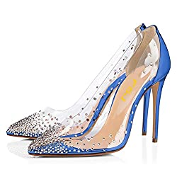 Royal Blue Studded Pointed Toe Transparen Heels with Bowknot