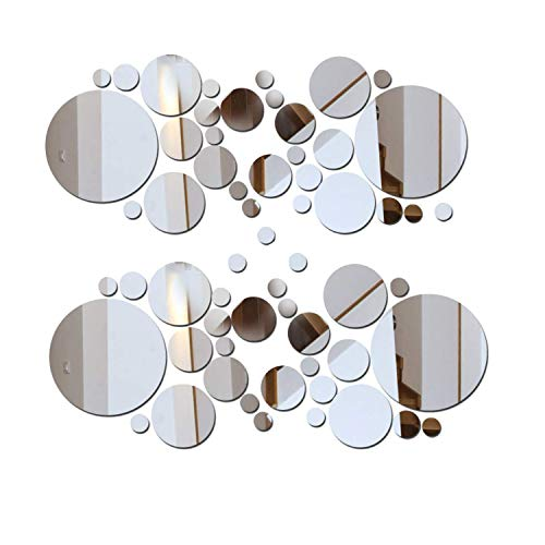 - 2 Sets DIY Mirror Wall Sticker Acrylic Round Mirror DIY Wall Sticker Removable Decal Acylic Crystal Vinyl Mirror Surface Art Wall Decoration for Bedroom Living Room Home Decor