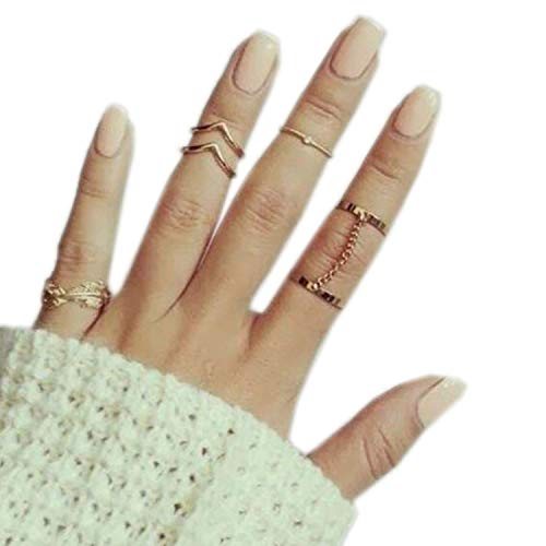 Beauty:Newest Fashion 6 Piece Set Stack Ring Leaf V Joint Ring Knuckle Nail Ring Set