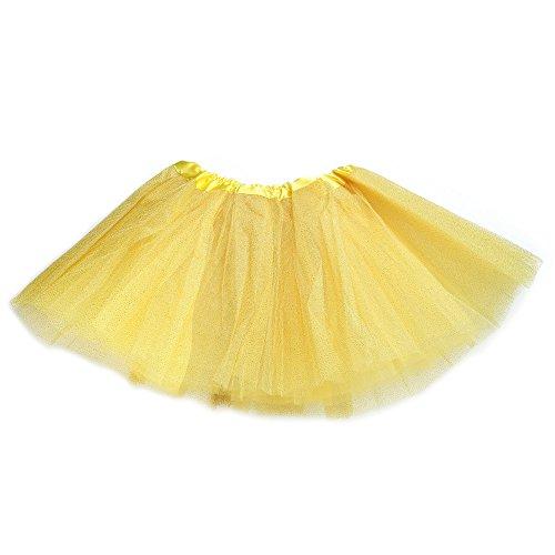 Anleolife 12'' Fluffy Birthday Tutu Skirt For Baby Girls/Ballet Tutu Light Up Skirt Sequins (Yellow Tutu)