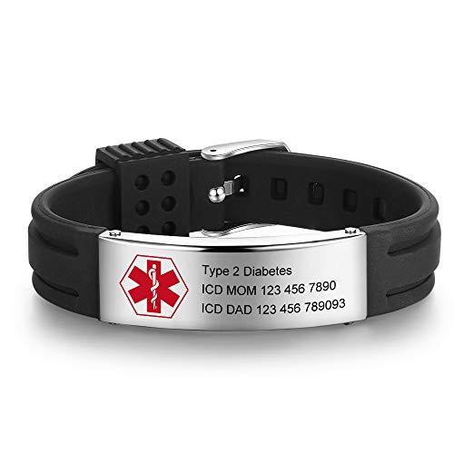 Custom Name Silicone Adjustable Medical Bracelets Sport Emergency ID Bracelets for Men Women Kids Waterproof Stainless Steel Rubber Alert Bracelets